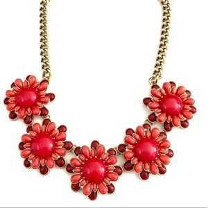 BANANA REPUBLIC red enamel flower necklace NWT